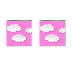 Clouds Sky Pink Comic Background Cufflinks (square) by BangZart