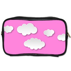 Clouds Sky Pink Comic Background Toiletries Bags