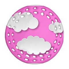 Clouds Sky Pink Comic Background Round Filigree Ornament (two Sides)