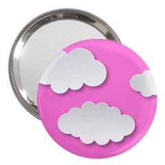 Clouds Sky Pink Comic Background 3  Handbag Mirrors by BangZart