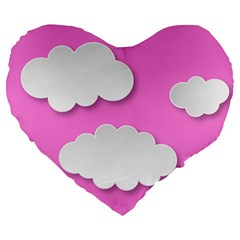 Clouds Sky Pink Comic Background Large 19  Premium Heart Shape Cushions by BangZart