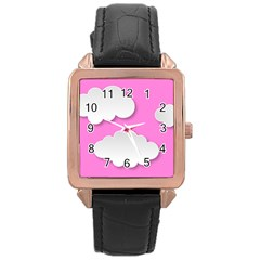 Clouds Sky Pink Comic Background Rose Gold Leather Watch