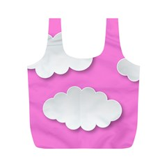 Clouds Sky Pink Comic Background Full Print Recycle Bags (m)