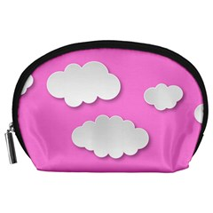 Clouds Sky Pink Comic Background Accessory Pouches (large)  by BangZart