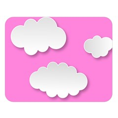 Clouds Sky Pink Comic Background Double Sided Flano Blanket (large)
