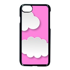 Clouds Sky Pink Comic Background Apple Iphone 8 Seamless Case (black)