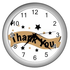 Thank You Lettering Thank You Ornament Banner Wall Clocks (silver)