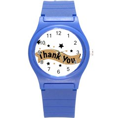 Thank You Lettering Thank You Ornament Banner Round Plastic Sport Watch (s)
