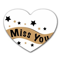 Lettering Miss You Banner Heart Mousepads by BangZart