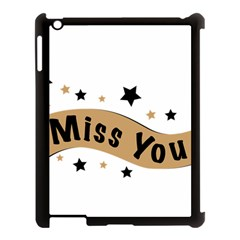 Lettering Miss You Banner Apple Ipad 3/4 Case (black) by BangZart