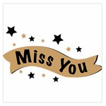 Lettering Miss You Banner Large Satin Scarf (Square) Front