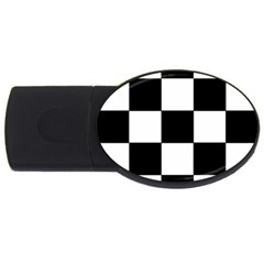 Grid Domino Bank And Black Usb Flash Drive Oval (4 Gb) by BangZart