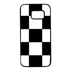 Grid Domino Bank And Black Samsung Galaxy S7 Black Seamless Case