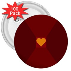 Heart Red Yellow Love Card Design 3  Buttons (100 Pack)