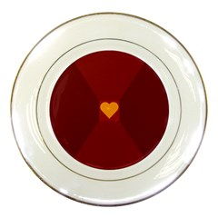 Heart Red Yellow Love Card Design Porcelain Plates