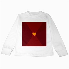 Heart Red Yellow Love Card Design Kids Long Sleeve T Shirts