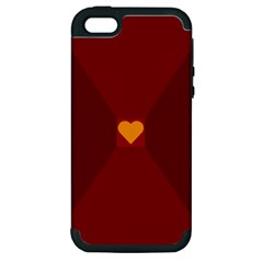 Heart Red Yellow Love Card Design Apple Iphone 5 Hardshell Case (pc+silicone) by BangZart