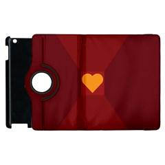 Heart Red Yellow Love Card Design Apple Ipad 3/4 Flip 360 Case by BangZart