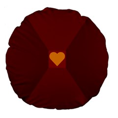 Heart Red Yellow Love Card Design Large 18  Premium Flano Round Cushions by BangZart