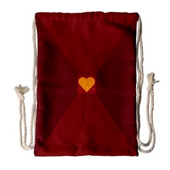 Heart Red Yellow Love Card Design Drawstring Bag (large) by BangZart