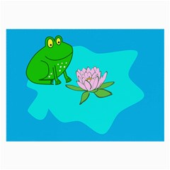 Frog Flower Lilypad Lily Pad Water Large Glasses Cloth (2 Side) by BangZart