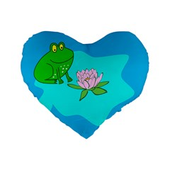Frog Flower Lilypad Lily Pad Water Standard 16  Premium Heart Shape Cushions by BangZart
