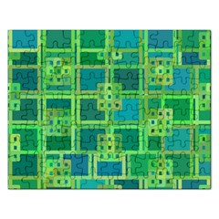 Green Abstract Geometric Rectangular Jigsaw Puzzl by BangZart