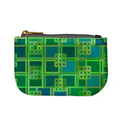 Green Abstract Geometric Mini Coin Purses