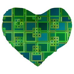 Green Abstract Geometric Large 19  Premium Flano Heart Shape Cushions by BangZart