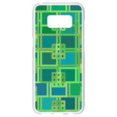 Green Abstract Geometric Samsung Galaxy S8 White Seamless Case