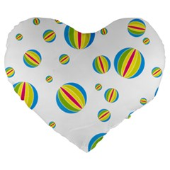Balloon Ball District Colorful Large 19  Premium Heart Shape Cushions
