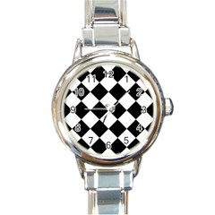Grid Domino Bank And Black Round Italian Charm Watch