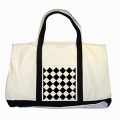 Grid Domino Bank And Black Two Tone Tote Bag