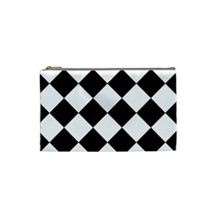 Grid Domino Bank And Black Cosmetic Bag (small)