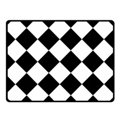 Grid Domino Bank And Black Double Sided Fleece Blanket (small)  by BangZart