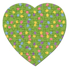 Balloon Grass Party Green Purple Jigsaw Puzzle (heart) by BangZart