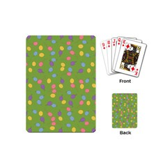 Balloon Grass Party Green Purple Playing Cards (mini)  by BangZart