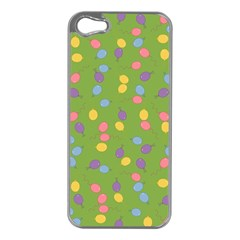 Balloon Grass Party Green Purple Apple Iphone 5 Case (silver) by BangZart