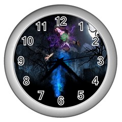 Magical Fantasy Wild Darkness Mist Wall Clocks (silver)