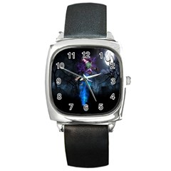 Magical Fantasy Wild Darkness Mist Square Metal Watch