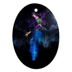 Magical Fantasy Wild Darkness Mist Oval Ornament (two Sides)
