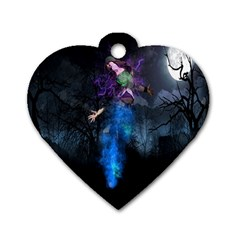 Magical Fantasy Wild Darkness Mist Dog Tag Heart (two Sides)