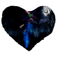 Magical Fantasy Wild Darkness Mist Large 19  Premium Heart Shape Cushions