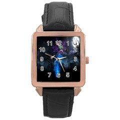 Magical Fantasy Wild Darkness Mist Rose Gold Leather Watch