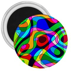 Digital Multicolor Colorful Curves 3  Magnets by BangZart