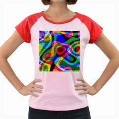 Digital Multicolor Colorful Curves Women s Cap Sleeve T-shirt by BangZart