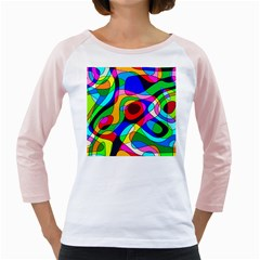 Digital Multicolor Colorful Curves Girly Raglans