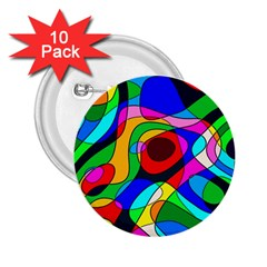 Digital Multicolor Colorful Curves 2 25  Buttons (10 Pack)