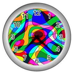 Digital Multicolor Colorful Curves Wall Clocks (silver)  by BangZart
