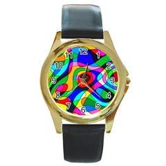 Digital Multicolor Colorful Curves Round Gold Metal Watch